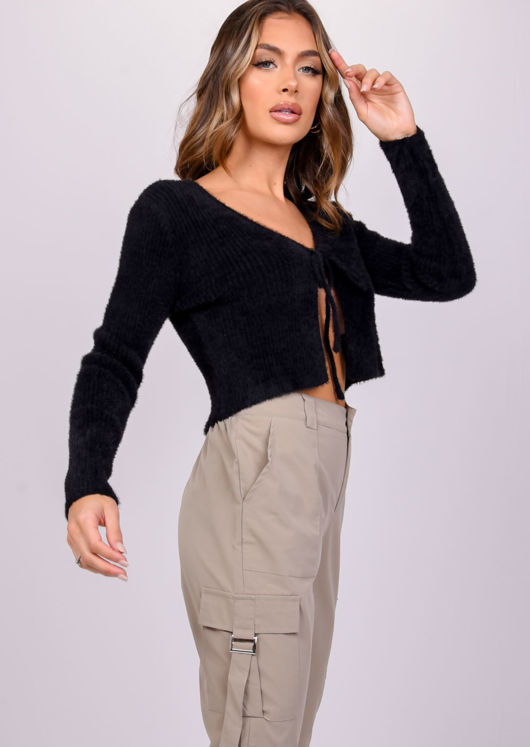 Fluffy Ribbed Tie Up Knit Cardigan Top Black