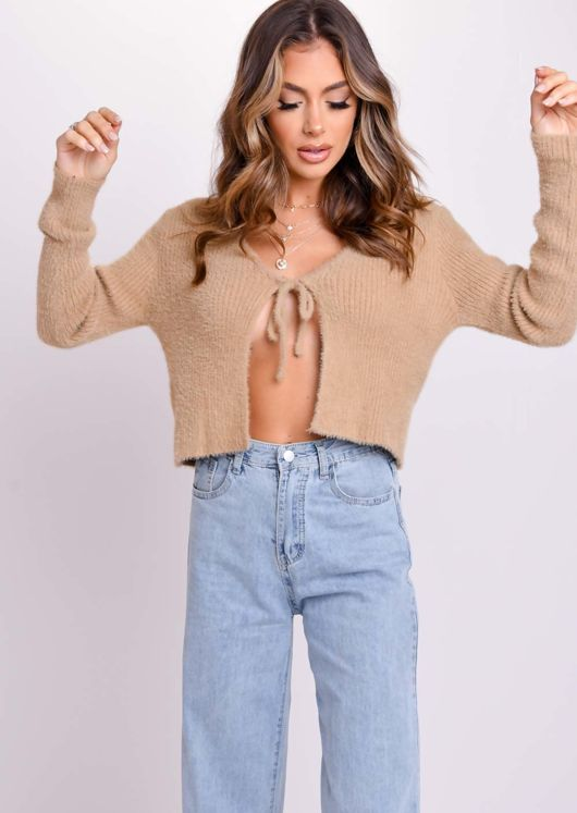 Fluffy Ribbed Tie Up Knit Cardigan Top Brown
