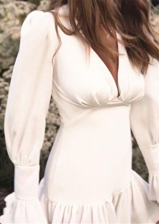 Flute Sleeve V neck Frill Mini Dress White
