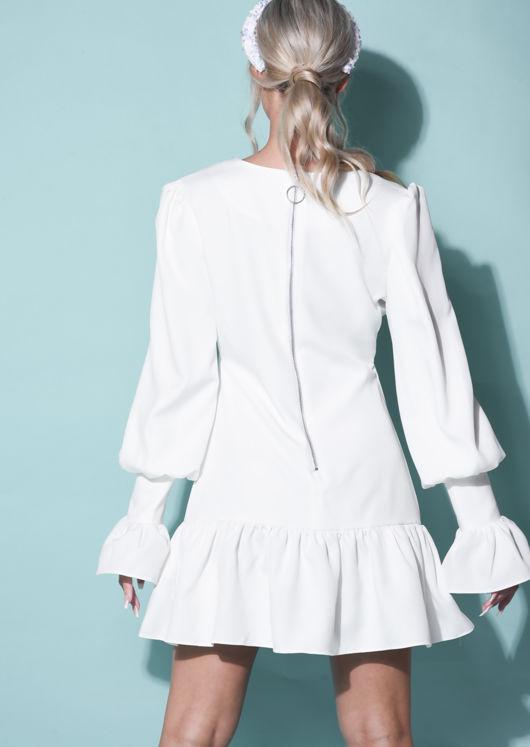 Flute Sleeve V neck Frill Puff Sleeve Mini Dress White