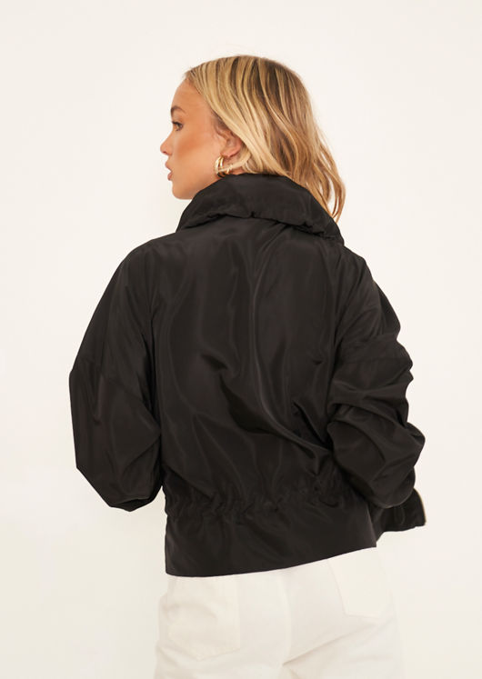 Foldaway Hooded Water Resistance Rain Mac Coat Black