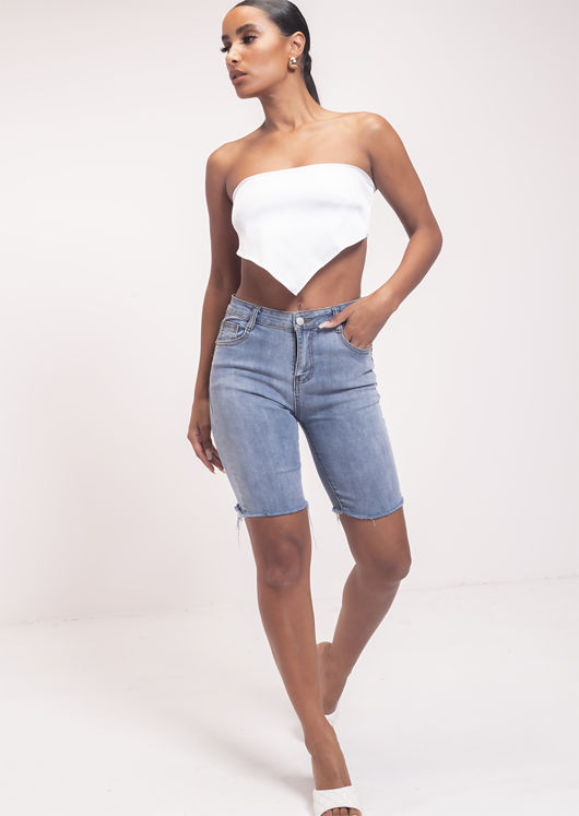 Folded Back Tie Bandanna Crop Top White