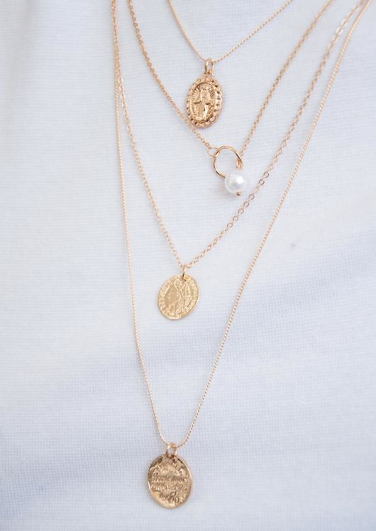 Four Strand Layered Coin Necklace Gold