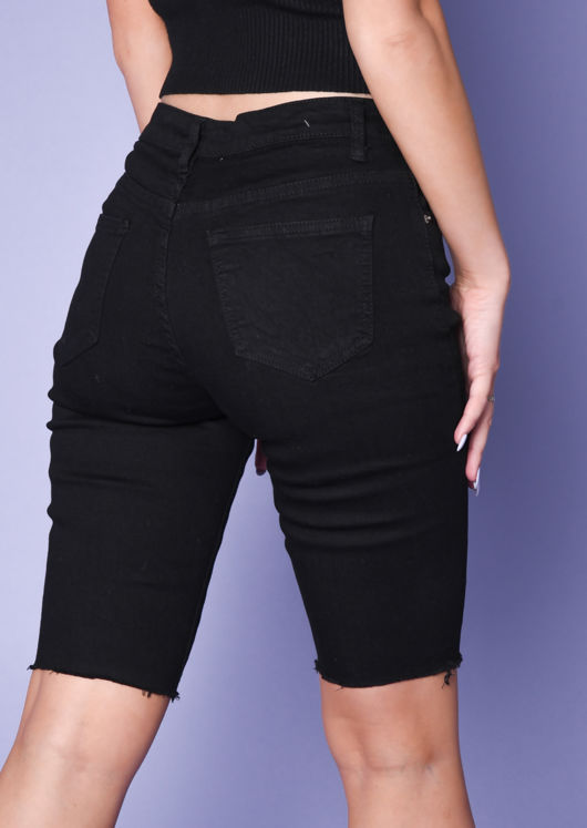 Frayed Hem Denim Cycling Shorts Black