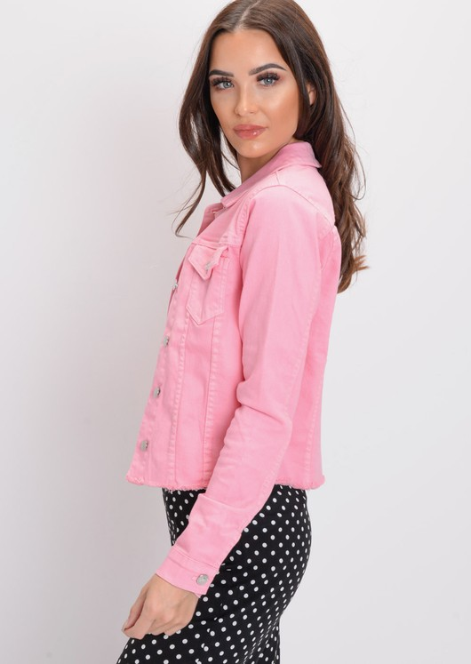 Frayed Hem Cropped Denim Trucker Jacket Pink