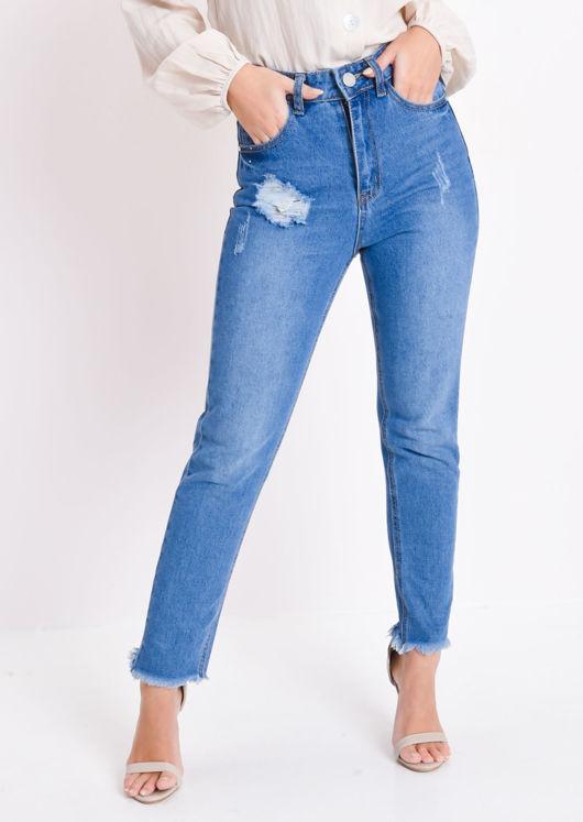 Frayed Hem High Waisted Ripped Denim Jeans Blue