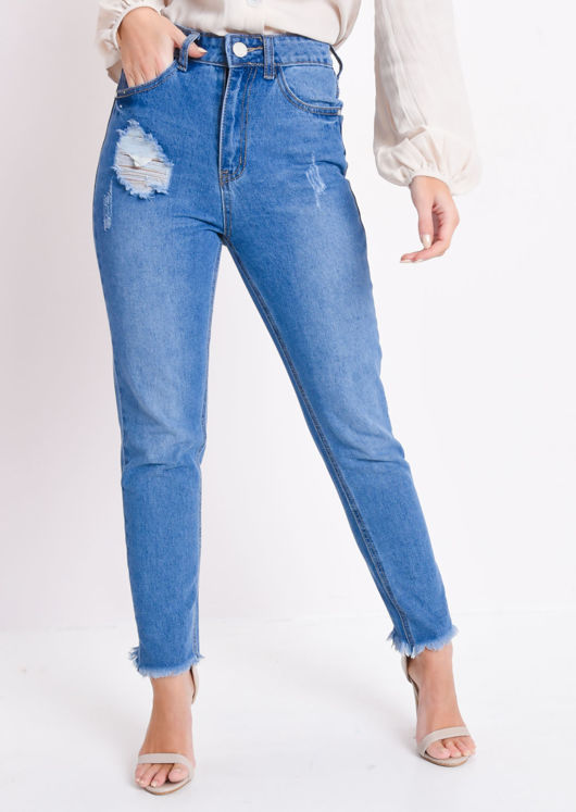 Frayed Hem High Waisted Ripped Denim Jeans Blue