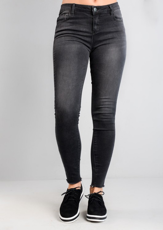 Frayed Hem Skinny Denim Jeans Washed Black