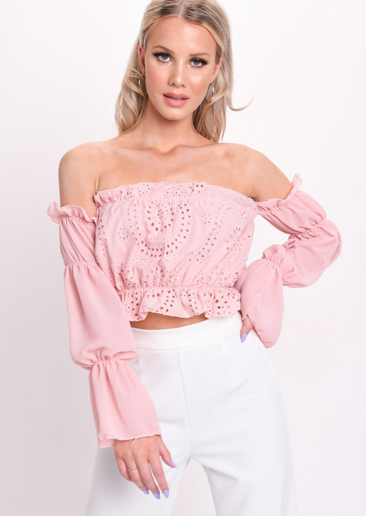 Frill Bardot Broderie Anglaise Crop Top Pink