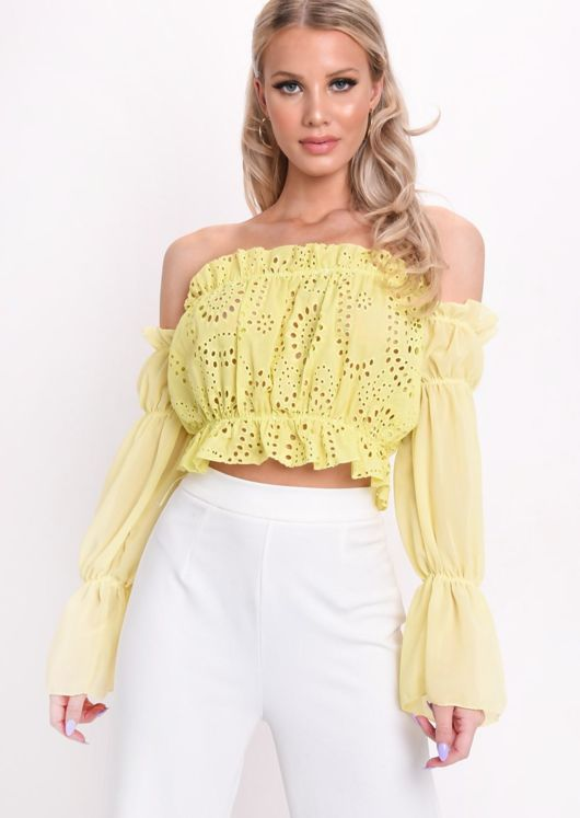 bba5f05f3a7e Frill Bardot Broderie Anglaise Puff Sleeve Crop Top Yellow | Lily Lulu