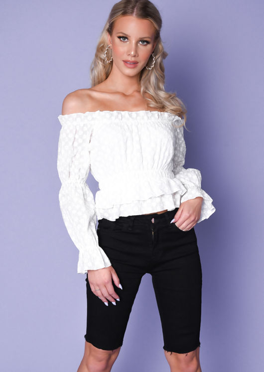 Frill Bardot Floral Embroidered Peplum Top White