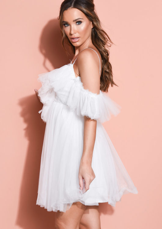 Frill Cold Shoulder Bardot Tulle Mini Dress White
