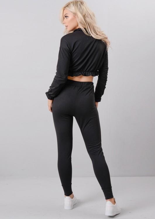 Frill Crop Top Tracksuit Loungewear Set Black