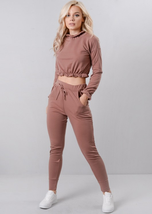 Frill Crop Top Tracksuit Loungewear Set Pink