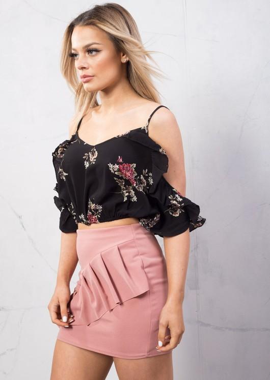 Frill Detail Bodycon Mini Skirt Blush Pink
