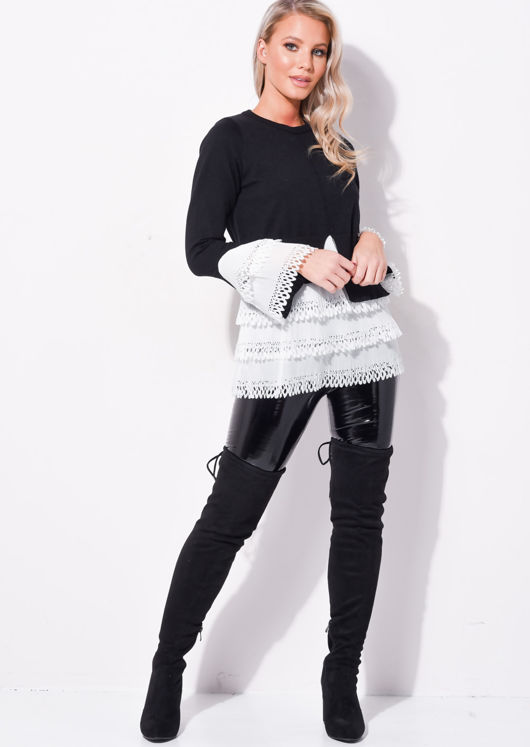 Frill Shirt Hem Round Neck Knitted Jumper Black