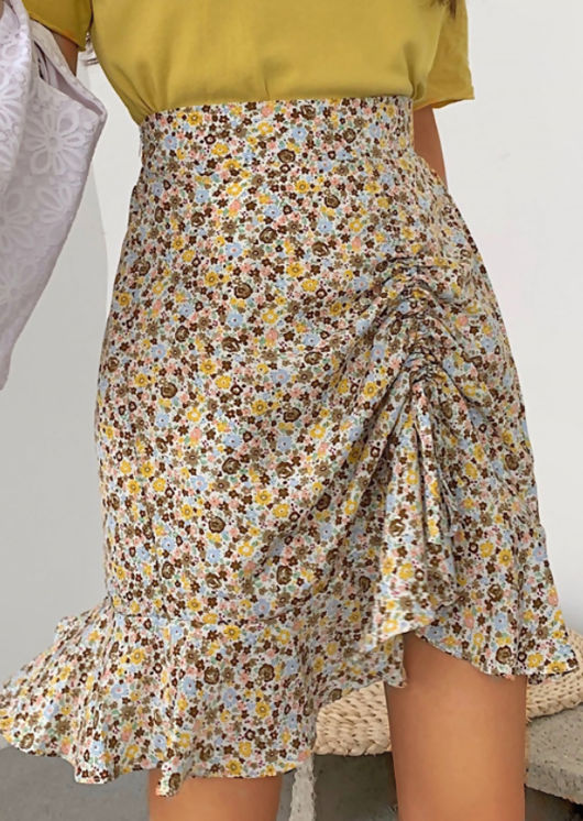 Frill Floral Print Front Drawstring Mini Skirt Yellow