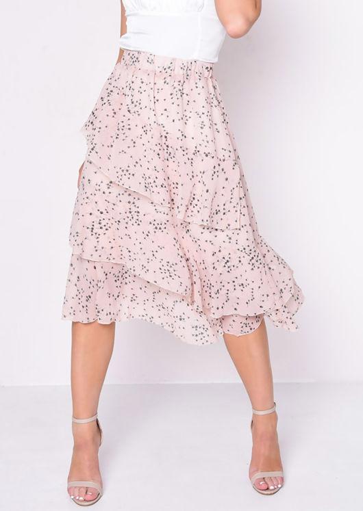 Frill Hem Chiffon Dandelion Print Midi Skirt Pink