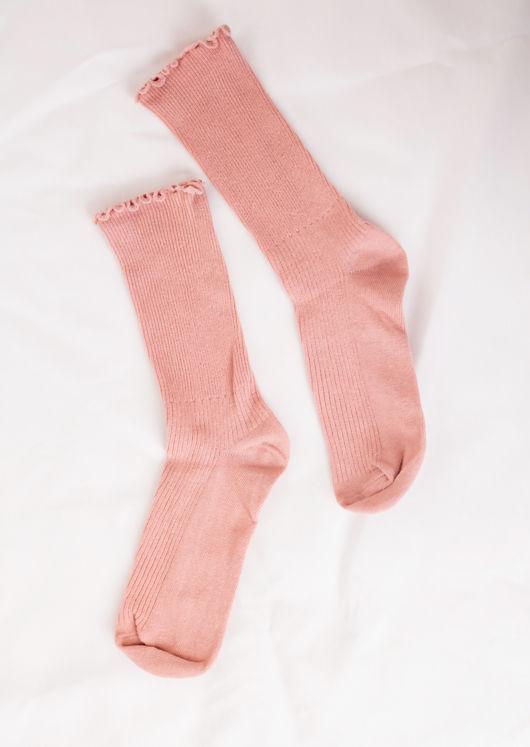 Frill Hem Ribbed Socks Pink
