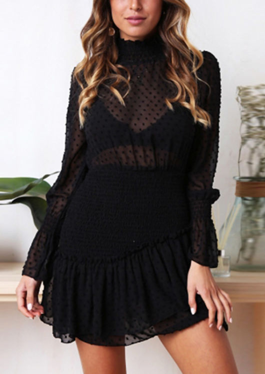 Frill Polka Dot Shirred High Neck Mini Dress Black