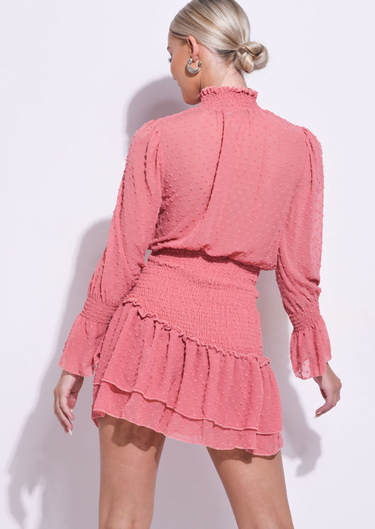 Frill Polka Dot Shirred High Neck Mini Dress Pink