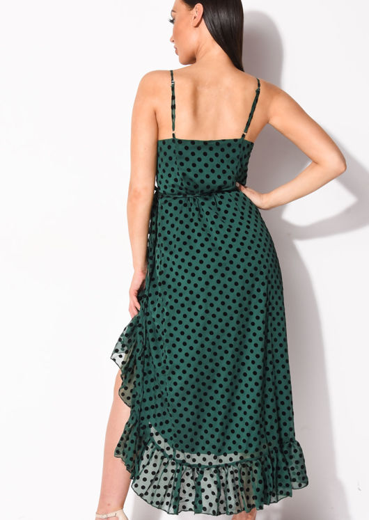 Frill Polka Dot Wrap Over Midaxi Dress Green