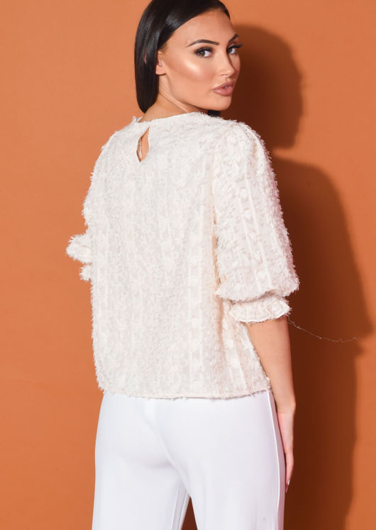 Frill Puff Sleeve Oversized Crop Blouse Top Beige