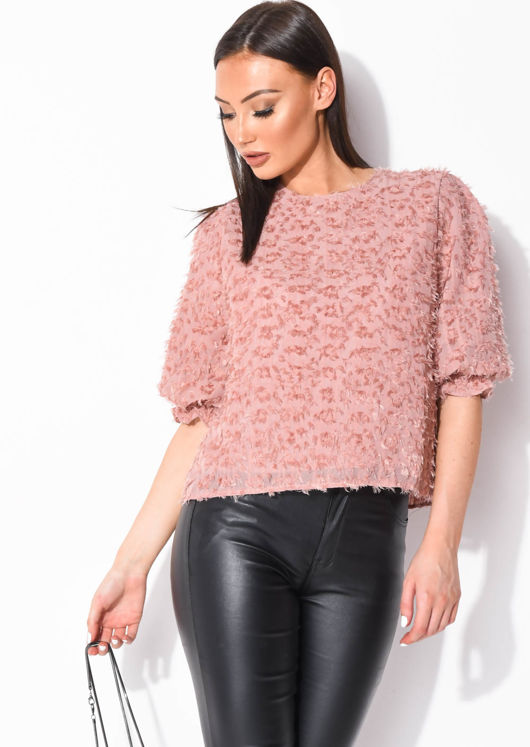 Frill Puff Sleeve Oversized Crop Blouse Top Pink