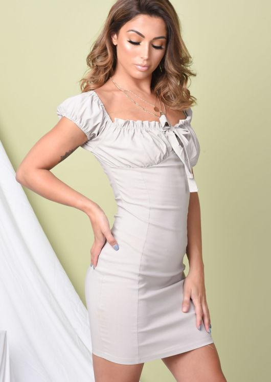 Frill Ruched Bardot Mini Dress Beige