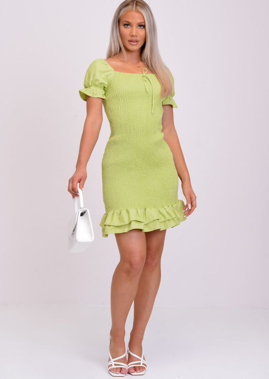 Frill Shirred Puff Sleeve Bodycon Dress Green