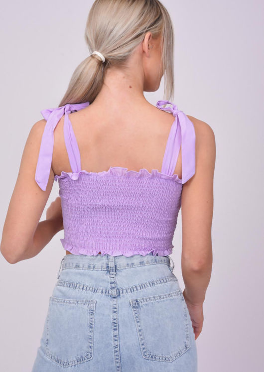 Frill Shirred Tie Up Crop Top Purple