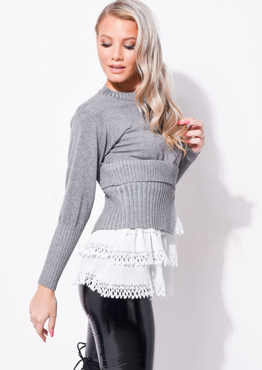 Frill Shirt Hem Ribbed Sleeve Jumper Grey