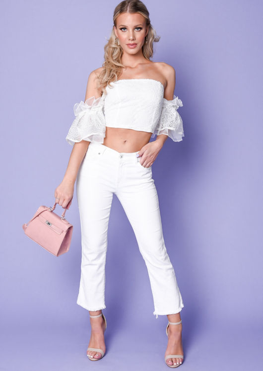Frill Short Sleeve Embroidered Crop Top White