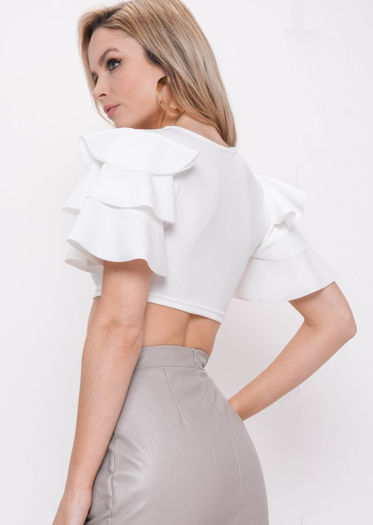 Frill Sleeve Crop Top White