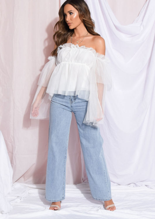 Frill Square Neck Ruffle Tulle Top White