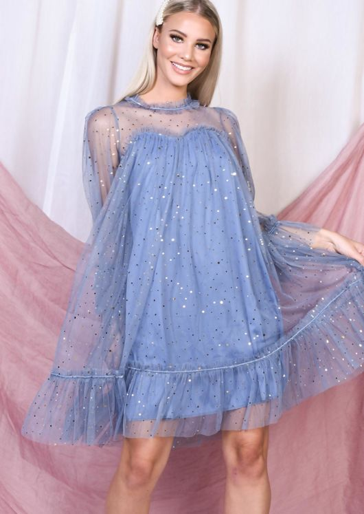 Frill Star Sequin Tulle Shift Dress Blue