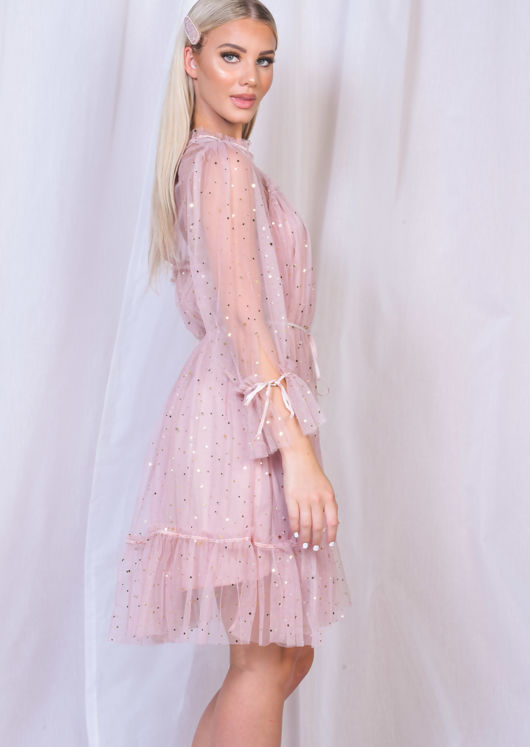Frill Star Sequin Tulle Shift Dress Pink