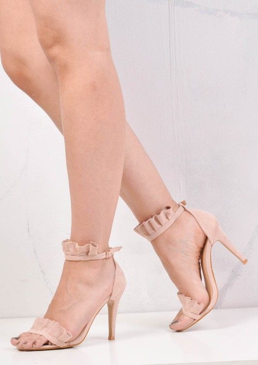 Frill Strappy Stiletto Heeled Sandals Suede Light Pink