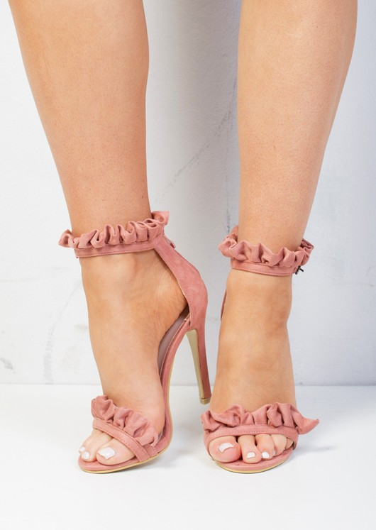 Pink Sandals Strappy Stiletto Suede Frill Heeled Blush QCthrdxsBo