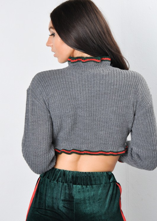 Frill Stripe Crop Knitted Jumper Grey