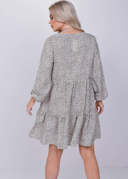Frill Tiered Animal Print Smock Dress White