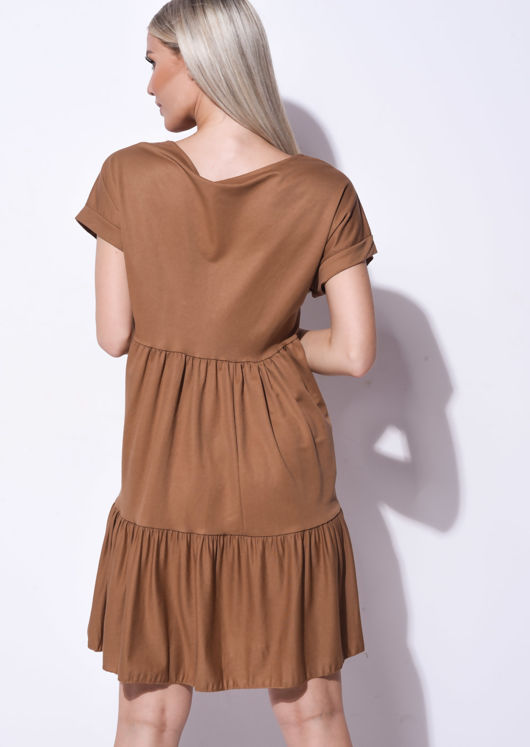 Frill Tiered Mini Shirt Dress Brown