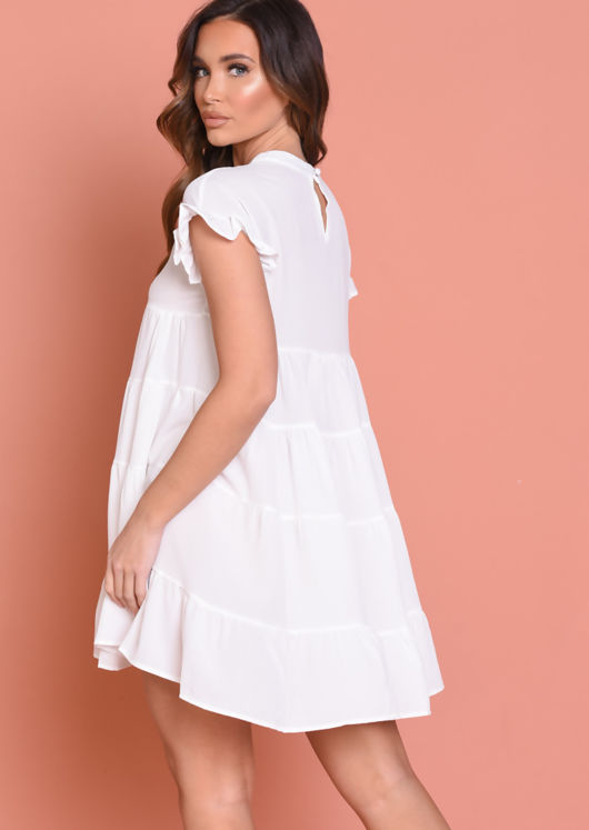 Frill Tiered Smock Dress White