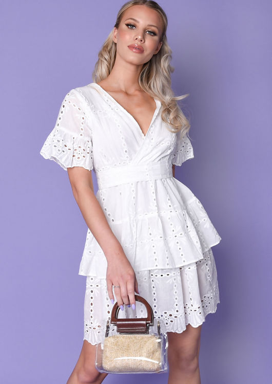 Frill Wrap Front Broderie Anglaise Mini Dress White