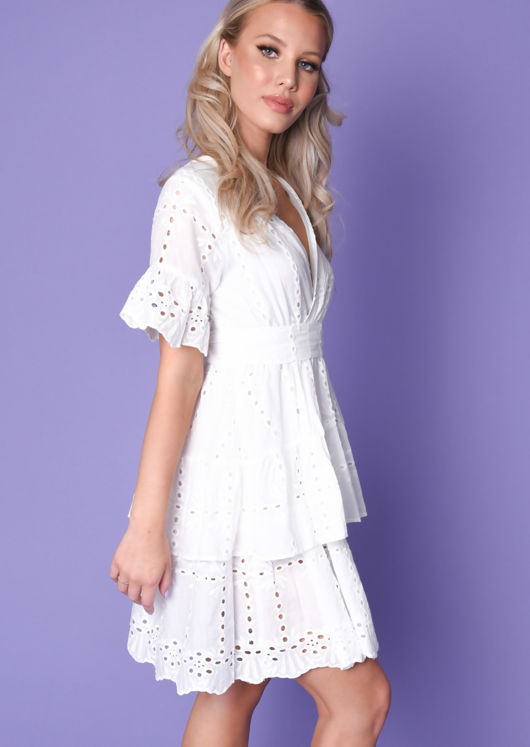 Frill Wrap Front Broderie Anglaise Tiered Mini Dress White