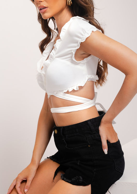 Frill Wrap Over Tie Crop Top White