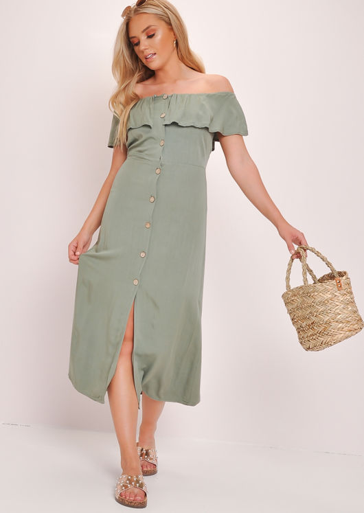 Frilled Bardot Button Through A Line Maxi Dress Green