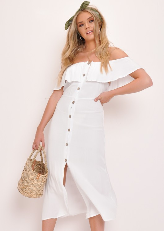 Frilled Bardot Button Through A Line Maxi Dress White