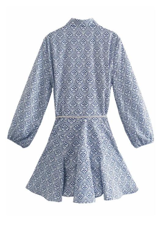Frilled Hem Patterned Rope String Accessorised Waist Belt Mini Dress Blue
