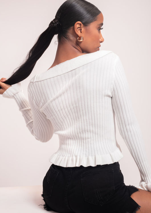 Knitted Frilled Hem Sleeves Cardigan Stretch Top White
